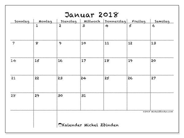 Kalender Januar 2018 (77SS). Kostenloser Zeitplan zum ausdrucken.