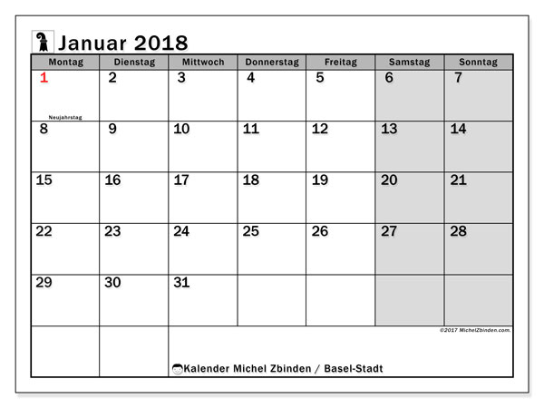 Kalender für Januar 2018, mit Feiertagen des Kantons Basel Stadt. Kostenlos ausdruckbare Planer.