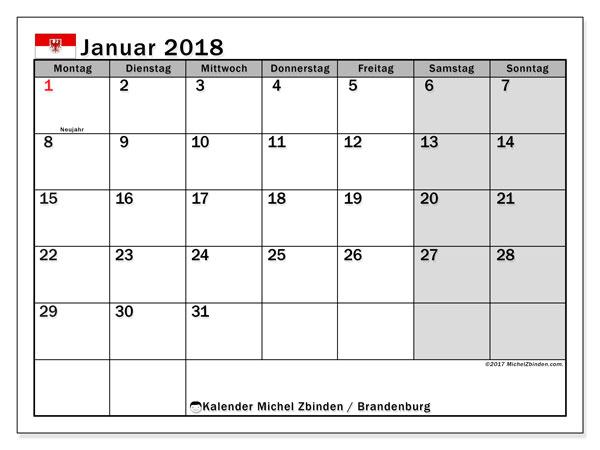 Kalender für Januar 2018, , mit Feiertagen Brandenburg. Kostenlos ausdruckbare Kalender.
