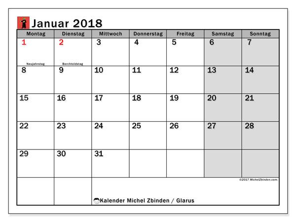 Kalender für Januar 2018, , mit Feiertagen des Kantons Glarus. Kostenloser Zeitplan zum ausdrucken.
