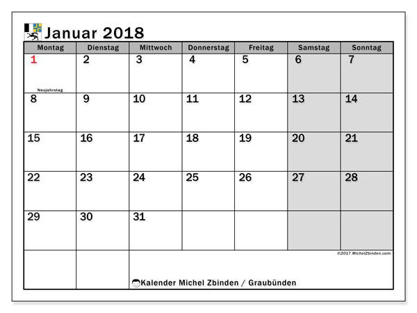 Kalender für Januar 2018, , mit Feiertagen des Kantons Graubünden. Monatskalender zum kostenlosen ausdrucken.