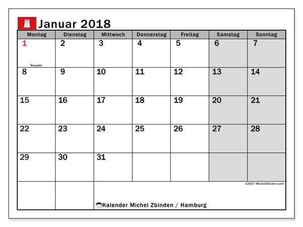 Kalender für Januar 2018, mit Feiertagen Hamburg. Kostenlos ausdruckbare Planer.
