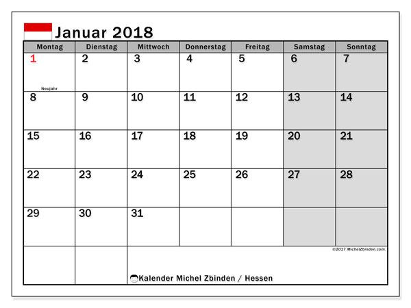 Kalender für Januar 2018, , mit Feiertagen Hessen. Kostenloser Planer zum ausdrucken.