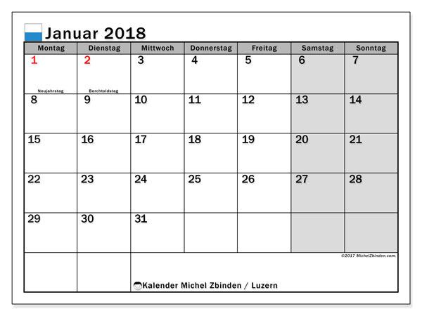 Kalender für Januar 2018, mit Feiertagen des Kantons Luzern. Kostenlos ausdruckbare Zeitplan.