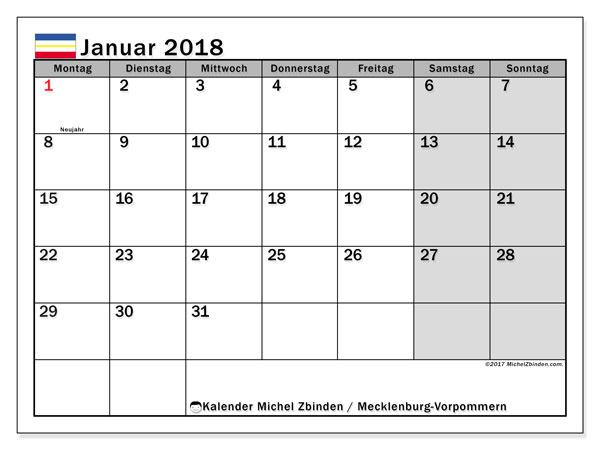 Kalender für Januar 2018, , mit Feiertagen Mecklenburg-Vorpommern. Kostenlos ausdruckbare Planer.