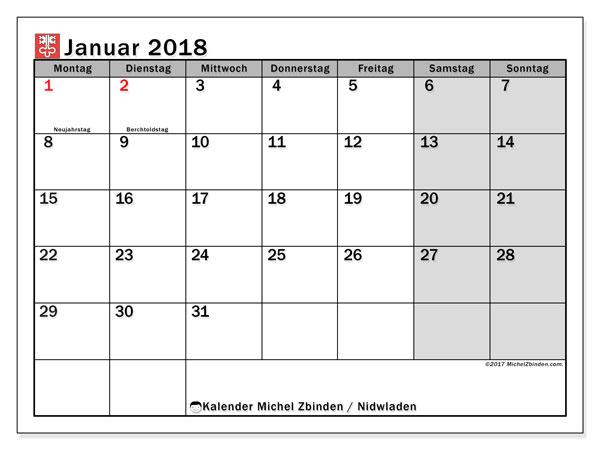 Kalender für Januar 2018, mit Feiertagen des Kantons Nidwalden. Kostenlos ausdruckbare Planer.