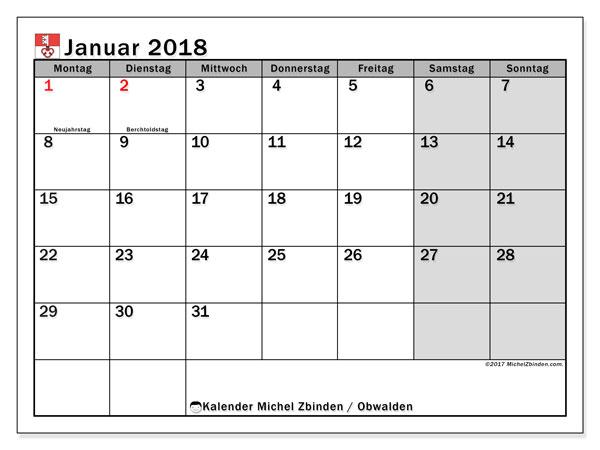 Kalender für Januar 2018, , mit Feiertagen des Kantons Obwalden. Monatlicher Kalender zum kostenlosen ausdrucken.