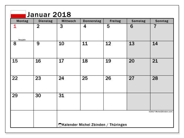 Kalender für Januar 2018, , mit Feiertagen Thüringen. Kostenloser Kalender zum ausdrucken.