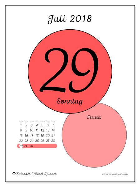 Kalender Juli 2018 (45-29SS). Täglicher Kalender zum kostenlosen ausdrucken.