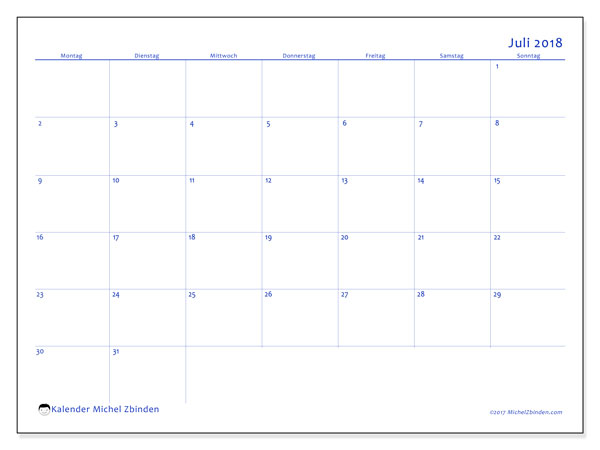 Kalender Juli 2018 (55MS). Kostenloser Planer zum ausdrucken.