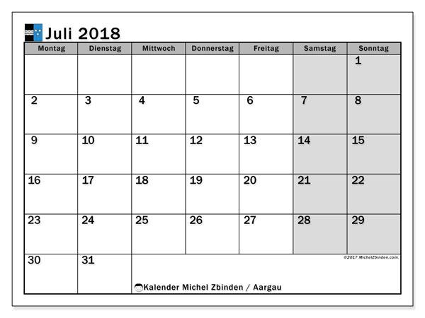 Kalender für Juli 2018, mit Feiertagen des Kantons Aargau. Kostenloser Zeitplan zum ausdrucken.