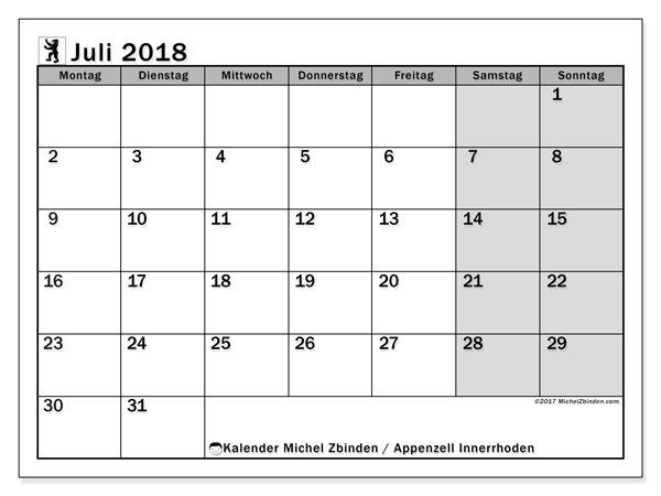 Kalender für Juli 2018, , mit Feiertagen des Kantons Apenzell Innerrhoden. Kostenlos ausdruckbare Kalender.