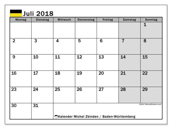 Kalender für Juli 2018, mit Feiertagen Baden-Württemberg. Monatlicher Kalender zum kostenlosen ausdrucken.