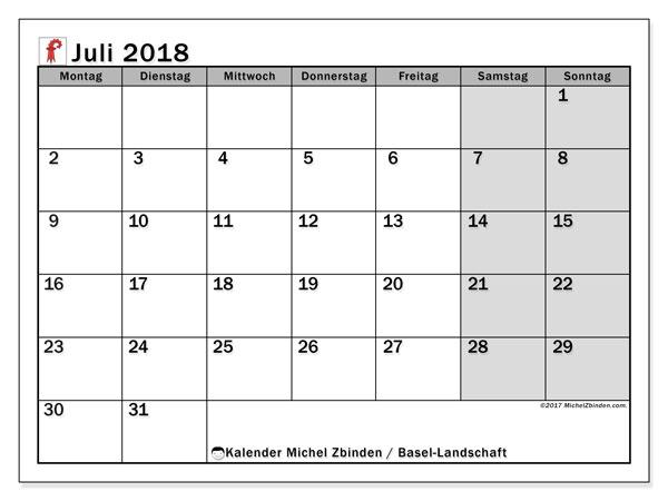 Kalender für Juli 2018, , mit Feiertagen des Kantons Basel Landschaft. Planer zum kostenlosen ausdrucken.