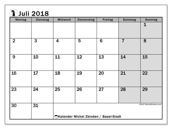 Kalender für Juli 2018, , mit Feiertagen des Kantons Basel Stadt. Kostenlos ausdruckbare Zeitplan.