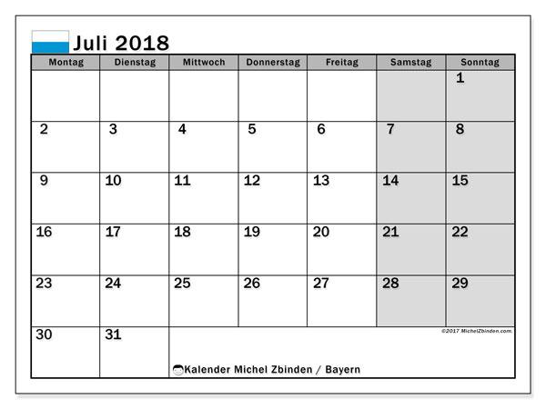 Kalender für Juli 2018, mit Feiertagen Bayern. Monatskalender zum kostenlosen ausdrucken.