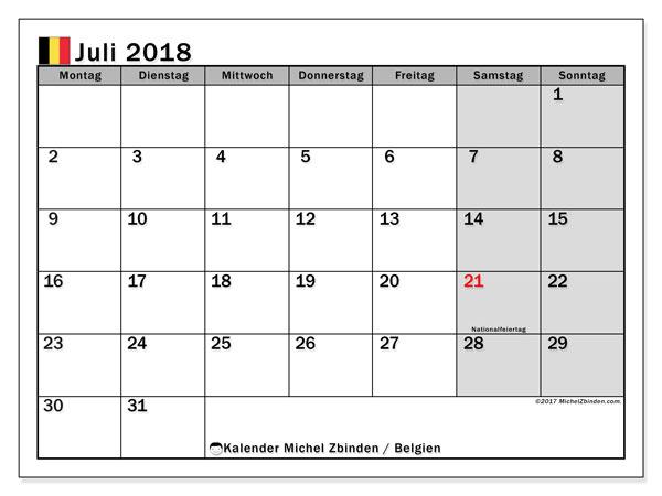 Kalender für Juli 2018, mit Feiertagen in Belgien. Monatskalender zum kostenlosen ausdrucken.