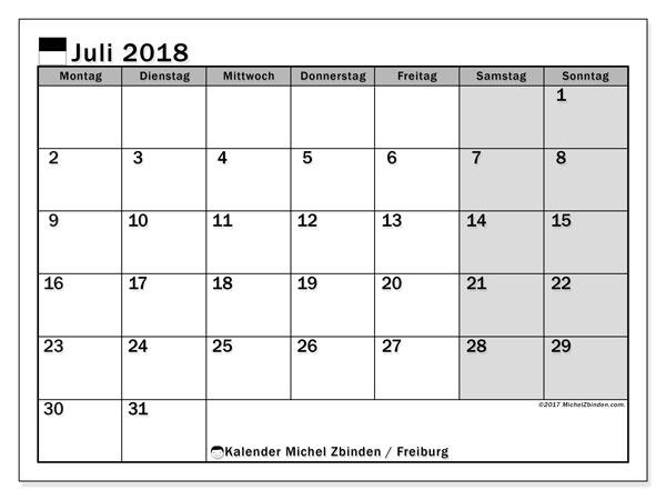 Kalender für Juli 2018, mit Feiertagen des Kantons Freiburg. Kostenloser Kalender zum ausdrucken.