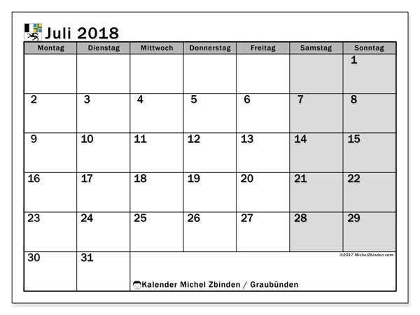 Kalender für Juli 2018, , mit Feiertagen des Kantons Graubünden. Monatskalender zum kostenlosen ausdrucken.