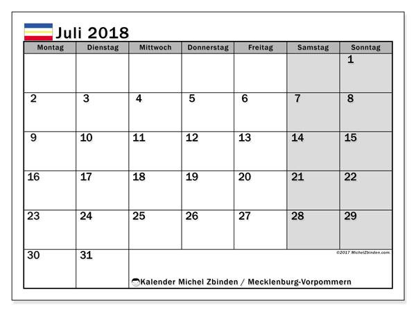Kalender für Juli 2018, , mit Feiertagen Mecklenburg-Vorpommern. Kostenlos ausdruckbare Zeitplan.