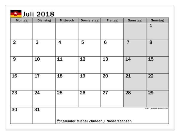 Kalender für Juli 2018, mit Feiertagen Niedersachsen. Kalender für den Monat zum kostenlosen Ausdrucken.