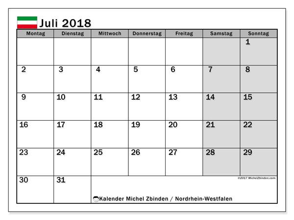Kalender für Juli 2018, , mit Feiertagen Nordrhein-Westfalen. Monatlicher Kalender zum kostenlosen ausdrucken.