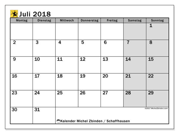 Kalender für Juli 2018, mit Feiertagen des Kantons Schaffhausen. Monatskalender zum kostenlosen ausdrucken.