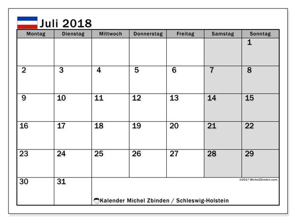 Kalender für Juli 2018, , mit Feiertagen Schleswig-Holstein. Kostenloser Zeitplan zum ausdrucken.
