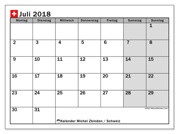 Kalender für Juli 2018, mit Feiertagen in der Schweiz. Monatlicher Zeitplan zum kostenlosen ausdrucken.