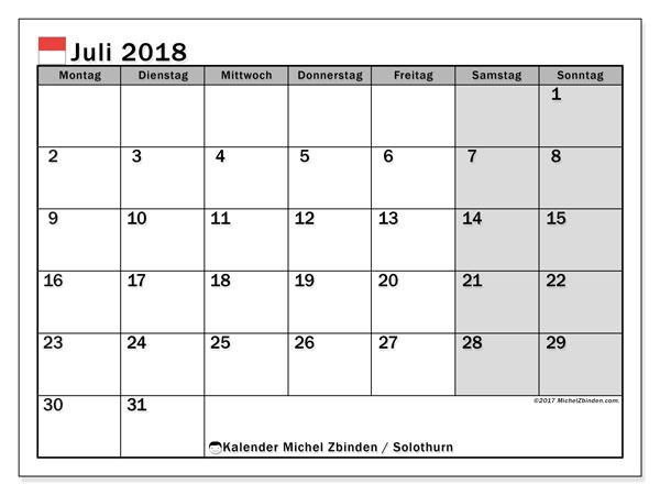Kalender für Juli 2018, mit Feiertagen des Kantons Solothurn. Monatskalender zum kostenlosen ausdrucken.