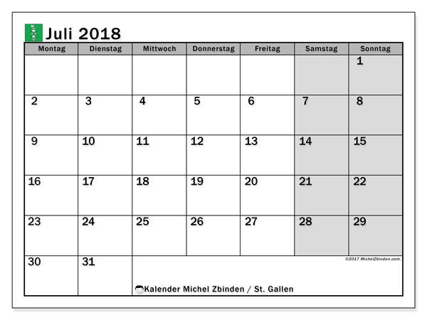 Kalender für Juli 2018, mit Feiertagen des Kantons St. Gallen. Kostenloser Zeitplan zum ausdrucken.