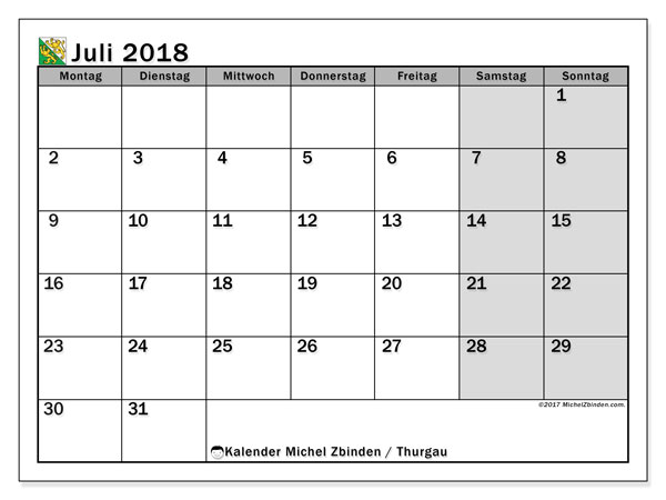 Kalender für Juli 2018, mit Feiertagen des Kantons Thurgau. Monatskalender zum kostenlosen ausdrucken.