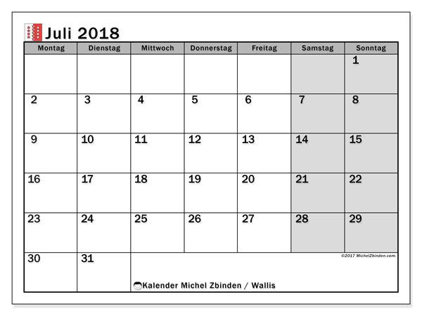 Kalender für Juli 2018, mit Feiertagen des Kantons Wallis. Kostenlos ausdruckbare Planer.