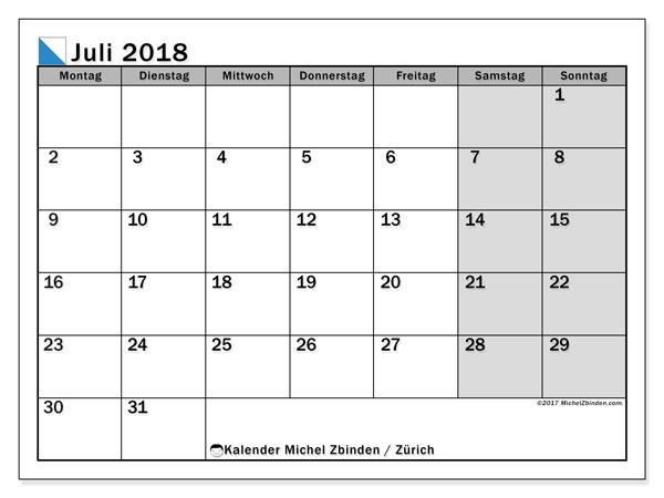 Kalender für Juli 2018, , mit Feiertagen des Kantons Zürich. Monatlicher Zeitplan zum kostenlosen ausdrucken.