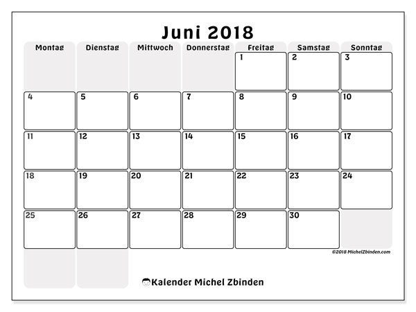 Kalender  Juni 2018, 44MS