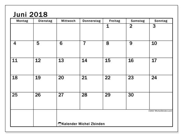 Kalender  Juni 2018, 50MS