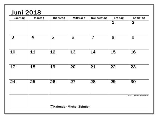 Kalender Juni 2018 (50SS). Kalender für den Monat zum kostenlosen Ausdrucken.