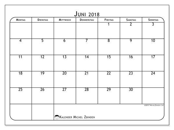 Kalender  Juni 2018, 51MS