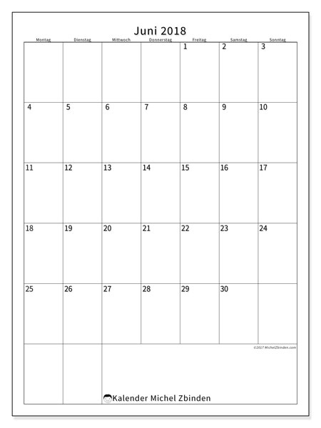 Kalender  Juni 2018, 52MS