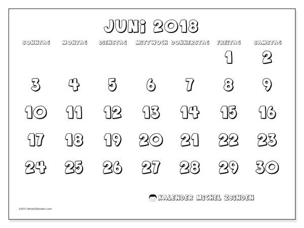 Kalender Juni 2018 (56SS). Monatlicher Kalender zum kostenlosen ausdrucken.