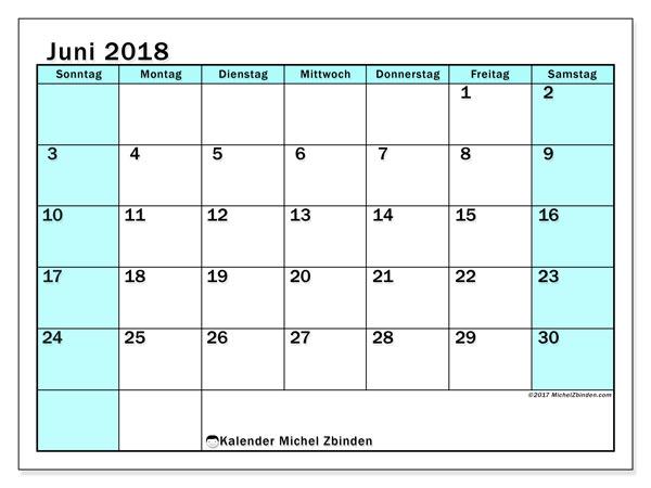 Kalender Juni 2018 (59SS). Kostenloser Planer zum ausdrucken.