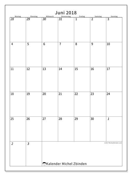 Kalender  Juni 2018, 68MS