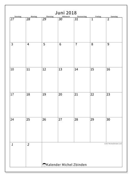Kalender Juni 2018 (68SS). Kostenloser Zeitplan zum ausdrucken.