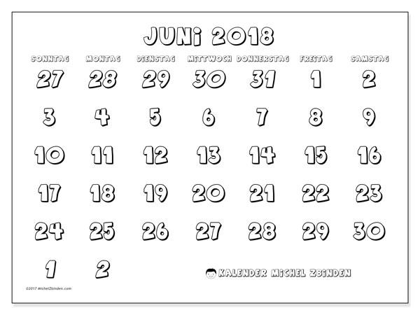 Kalender Juni 2018 (71SS). Kostenloser Planer zum ausdrucken.