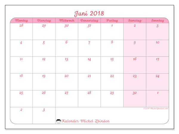 Kalender Juni 2018 (76MS). Kostenlos ausdruckbare Planer.