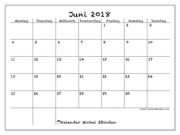 Kalender  Juni 2018, 77MS