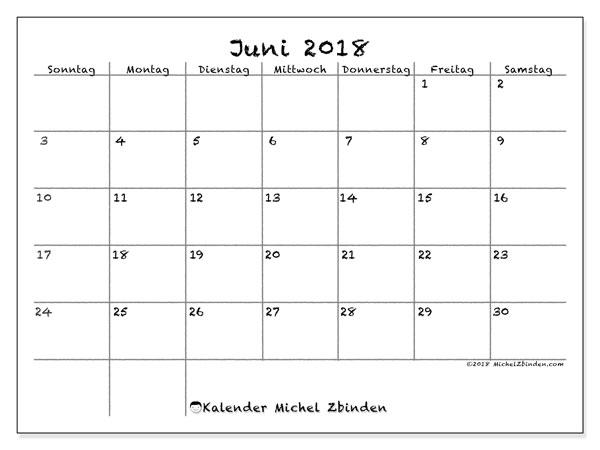Kalender Juni 2018 (77SS). Monatlicher Kalender zum kostenlosen ausdrucken.