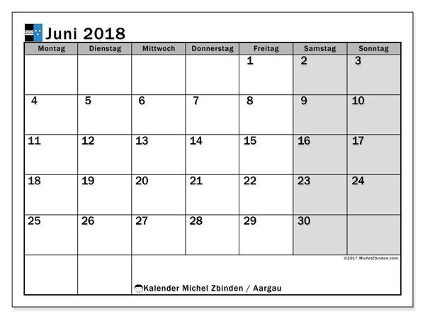 Kalender für Juni 2018, mit Feiertagen des Kantons Aargau. Monatlicher Zeitplan zum kostenlosen ausdrucken.