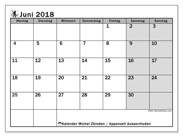 Kalender für Juni 2018, , mit Feiertagen des Kantons Apenzell Ausserrhoden. Kostenlos ausdruckbare Planer.