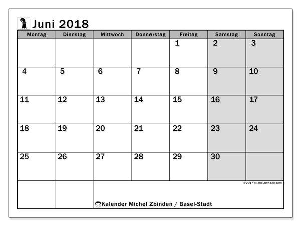 Kalender für Juni 2018, mit Feiertagen des Kantons Basel Stadt. Monatskalender zum kostenlosen ausdrucken.